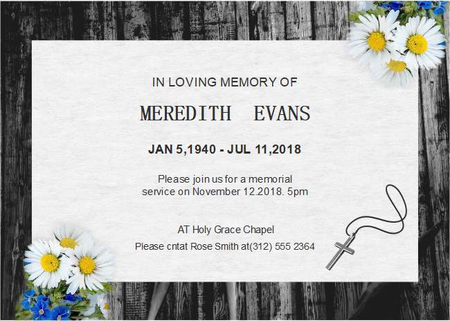 Free Daisy Funeral Invitation Templates