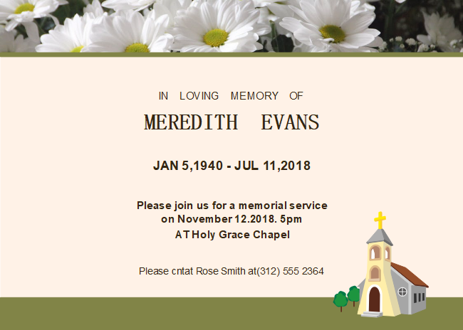 Free Daisy Photo Funeral Invitation Templates