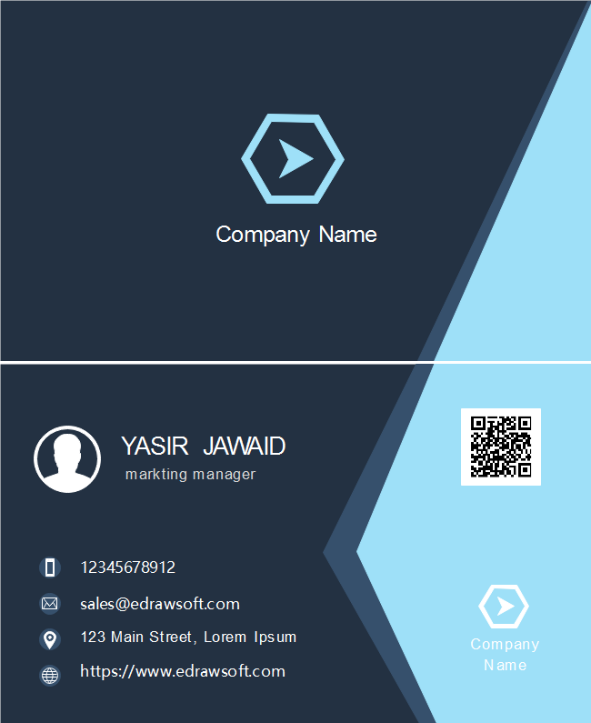 Light Blue Triangle Business Card