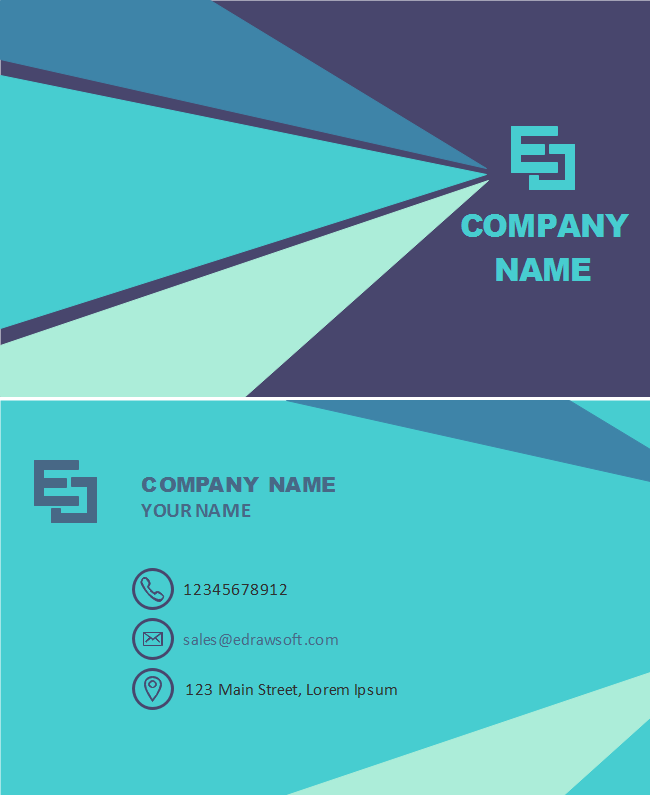 Turquoise Triangles Business Card