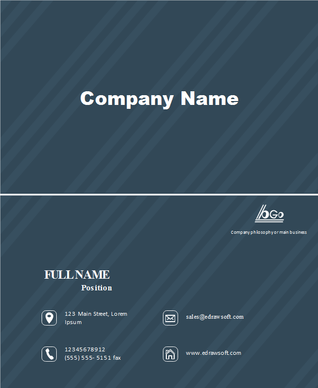 Dark Blue Twill Business Card