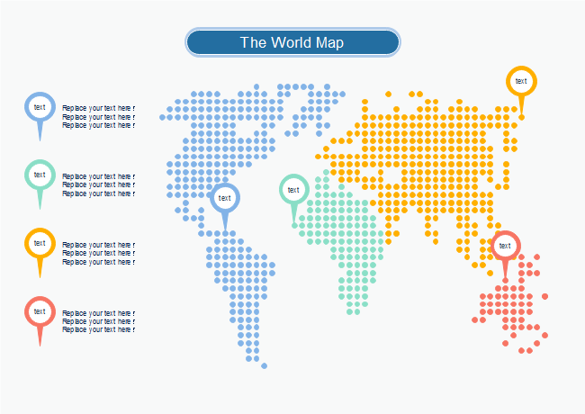 Dots world map free dots world map templates description this dots world map template is designed with several different colors of dots and making them in a world map shape gumiabroncs