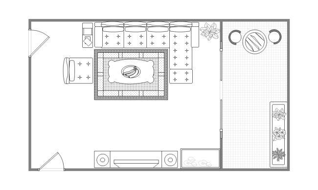 Drawing room layout with balcony free drawing room for Furniture templates for room design
