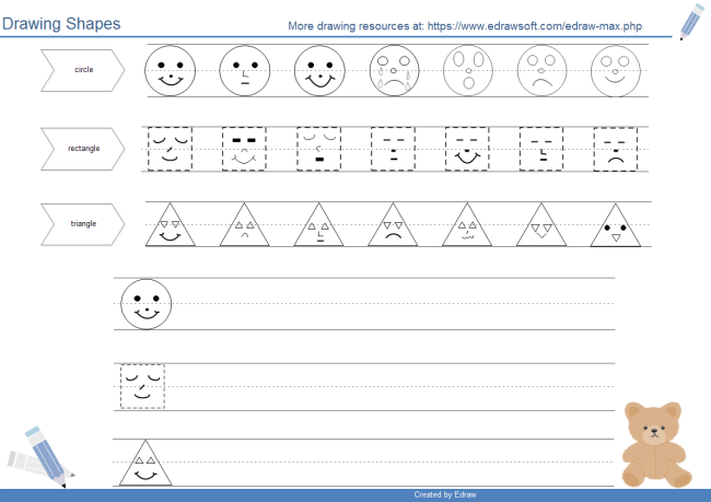 Drawing Shapes Worksheets Davezan – Free Shape Worksheets for Kindergarten