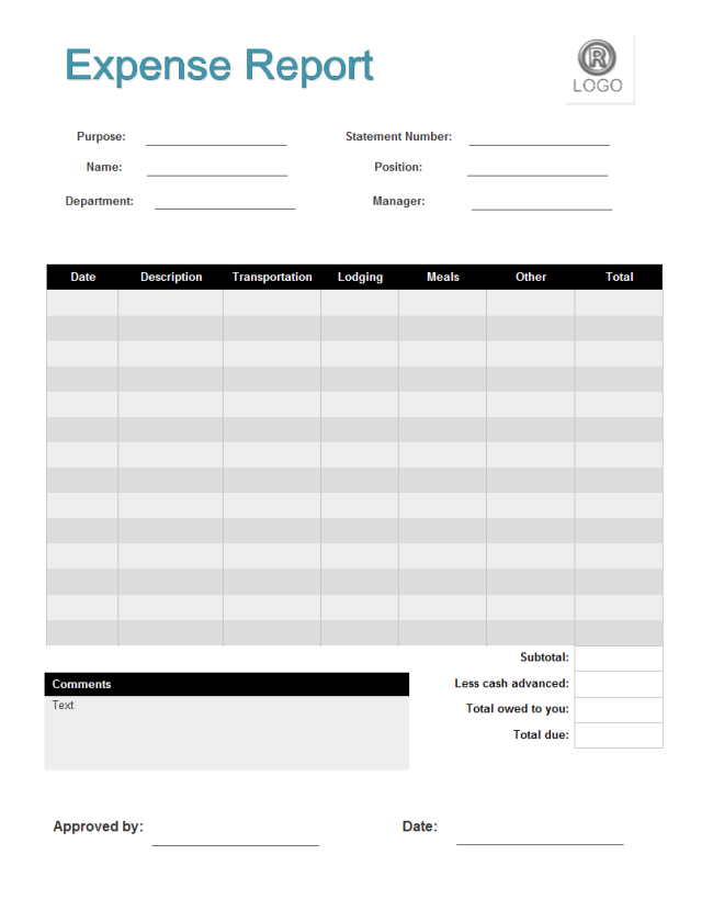 Superior Business Form Template   Expense Report