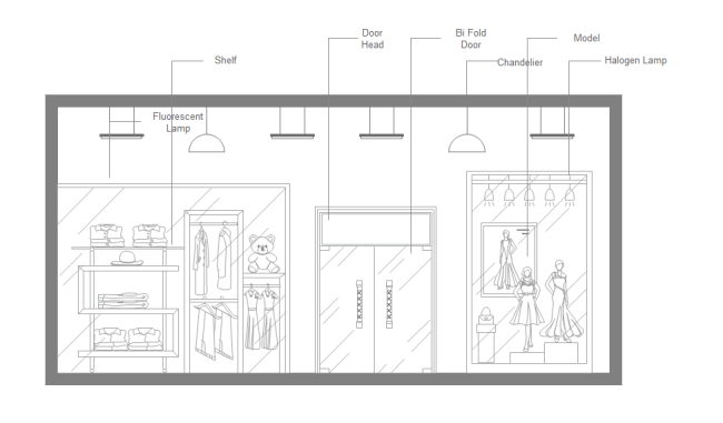 Elevation Plan Template : Fashion shop elevation free templates
