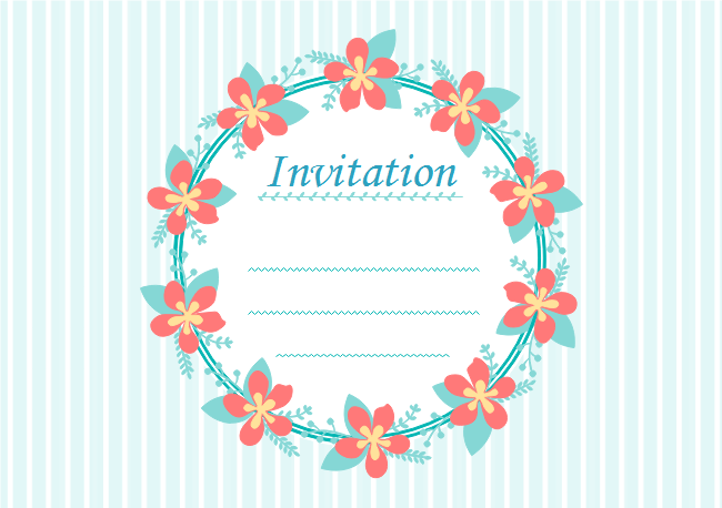 Flower Wreath Invitation Card