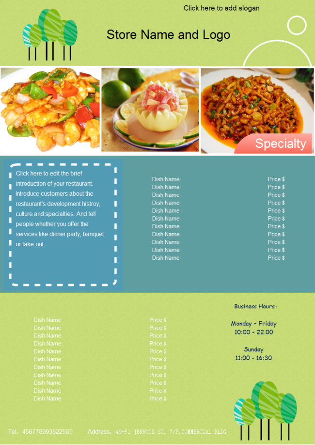 Food Menu – Free Food Menu Template