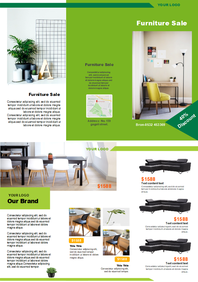 free furniture sales brochure templates