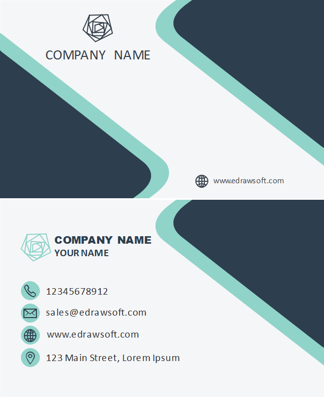 Gray Blue Turquoise Business Card