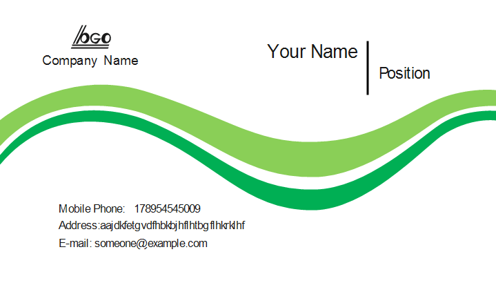 Green Curves Business Card Front