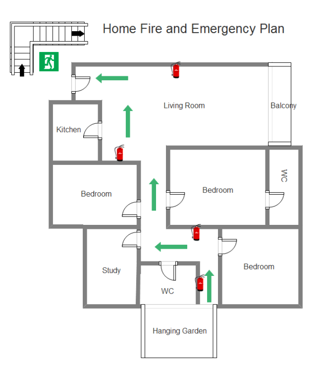 Simple fire emergency chart maker make great looking for Home fire safety plan