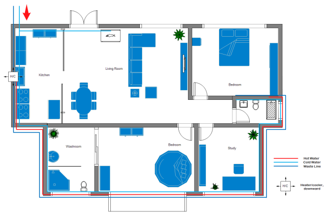 Free Printable Home Plumbing and Piping Plan Example