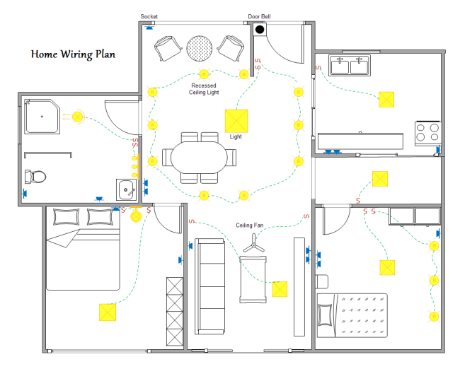 home wiring plan software making wiring plans easily rh edrawsoft com house wiring amps and wire gauge chart house wiring ampacities