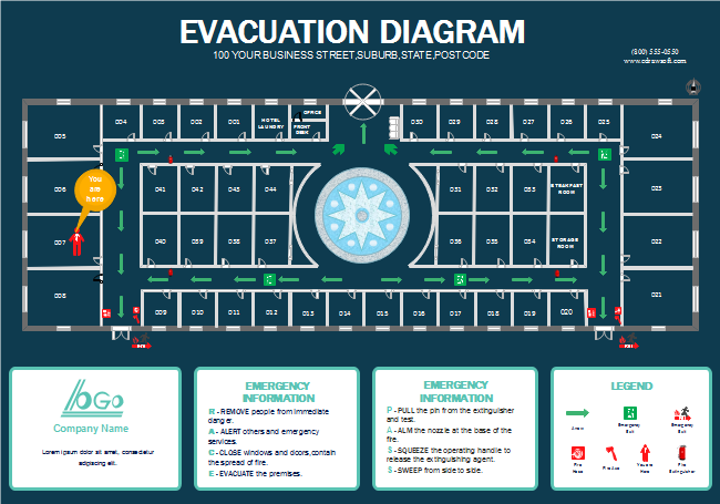 fire evacuation plan template for office - hotel fire escape plan