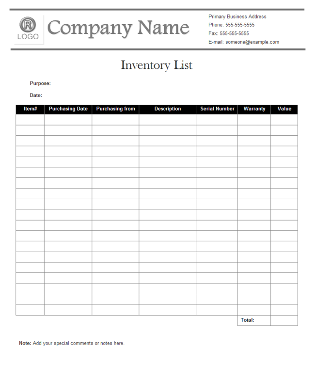 Inventory List Templates Free Download – Blank Inventory Template