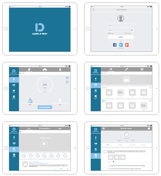 IPad App UI Wireframe
