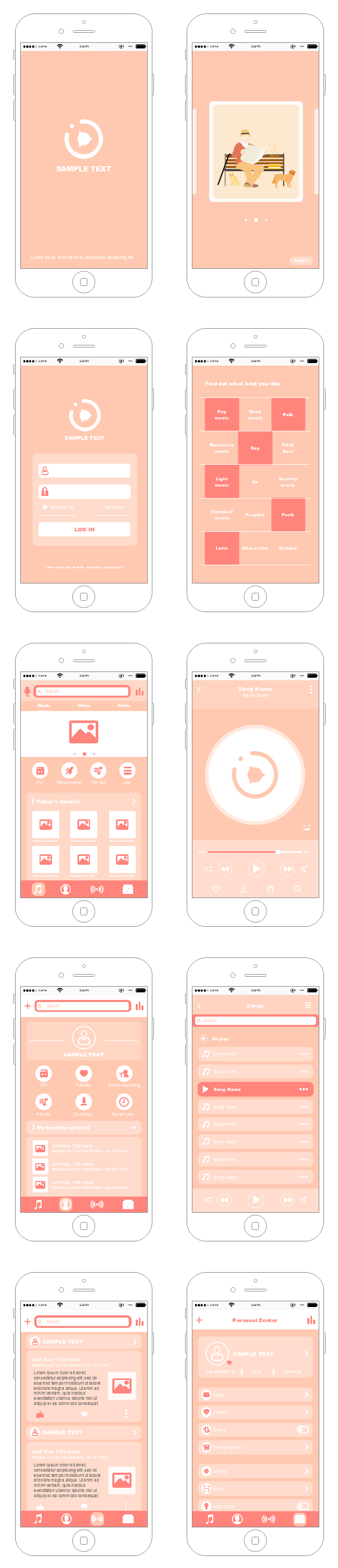 IPhone App UI Wireframe