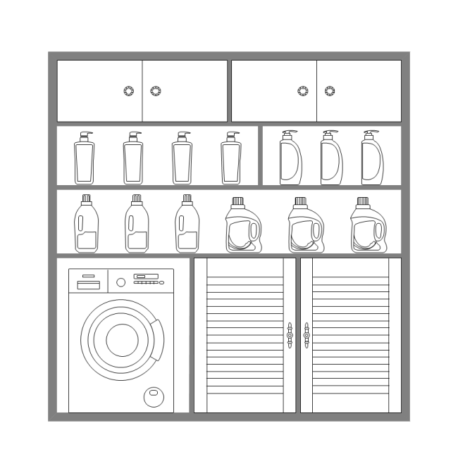 Elevation Plan Template : Laundry cabinet elevation free