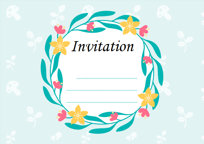 Leaf Wreath Invitation Card