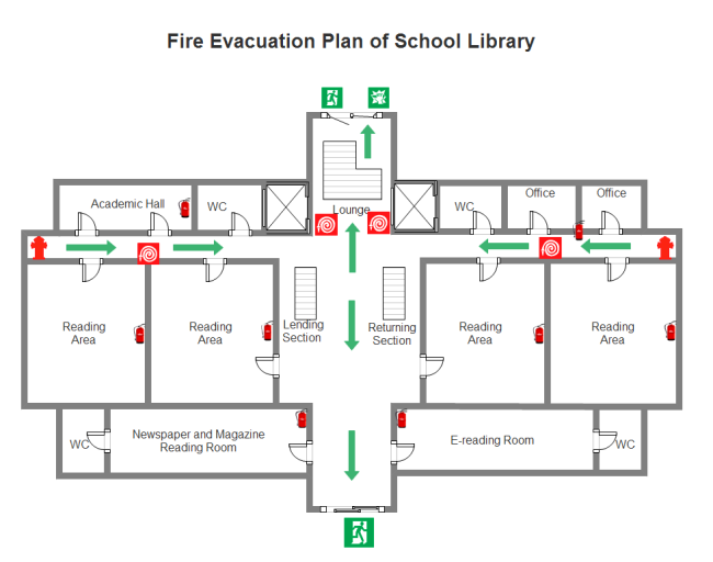Library Fire Evacuation Plan | Free Library Fire Evacuation Plan ...