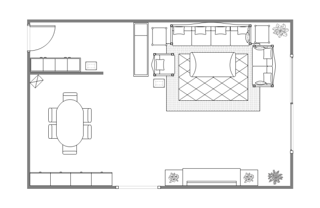 Floor plan examples for Drawing room bed design