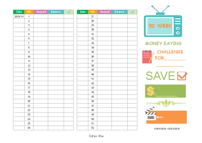 Money Saving Challenge Chart