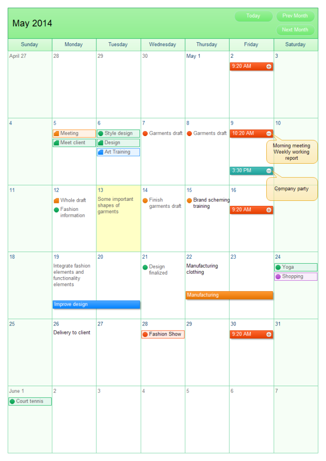 Month Working Calendar