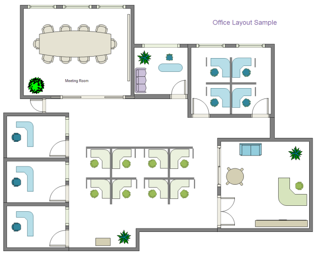 Supermarket floor plan examples and templates for Online office layout planner