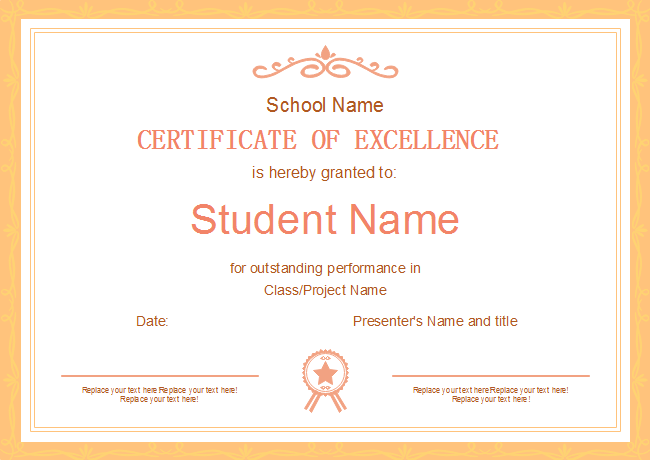 Orange Frame Certificate