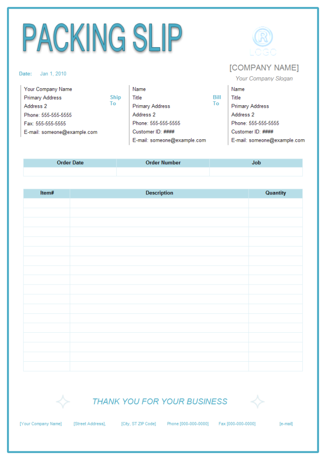 Packing Slip  Packing Template