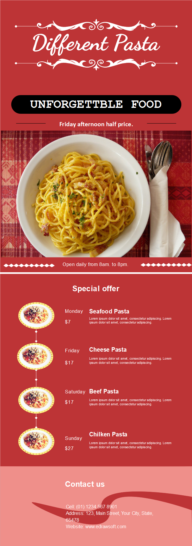 Pasta Restaurant Flyer Free Pasta Restaurant Flyer Templates
