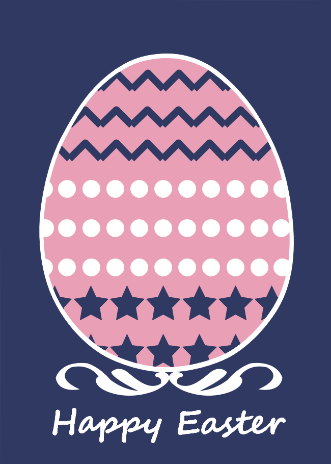 Pink Egg Easter Day Card