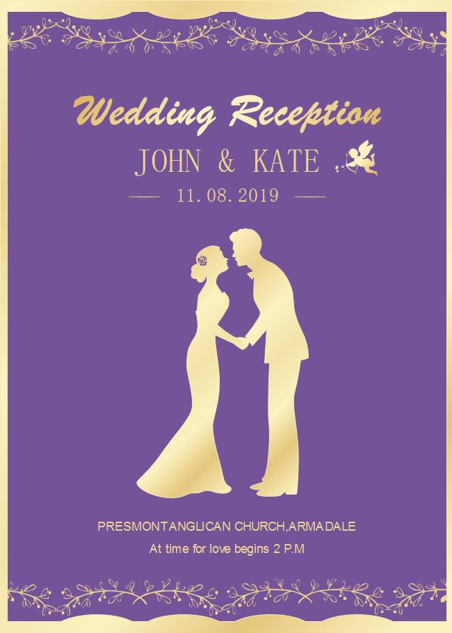 Free Purple Background Wedding Invitation Templates