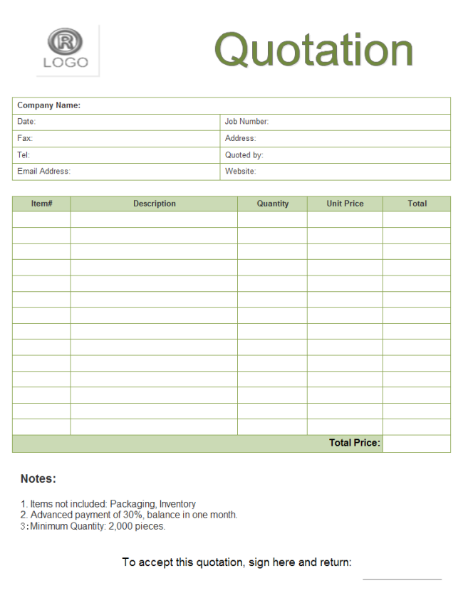 free printable quote forms template
