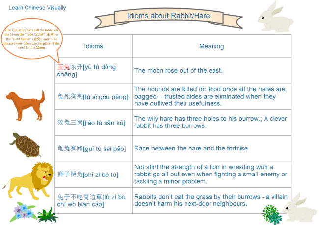 Table Examples Of Learn Chinese Idioms