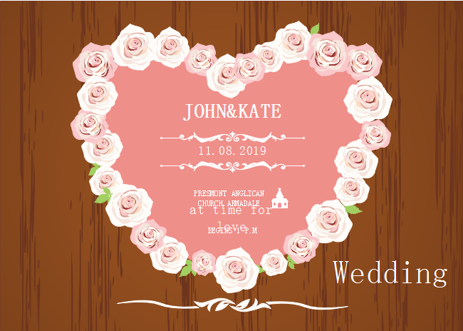 Rose Heart Wedding Invitation
