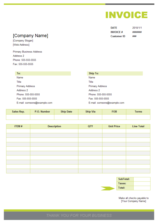 Sales Invoice Examples and Templates - Free Download