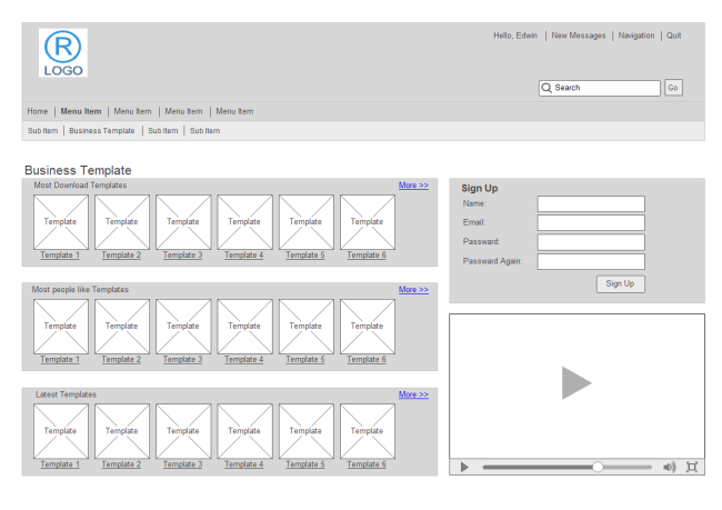 Share Website Wireframe