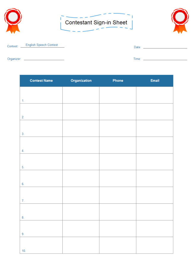 Sign In Sheet Free Sign In Sheet Templates