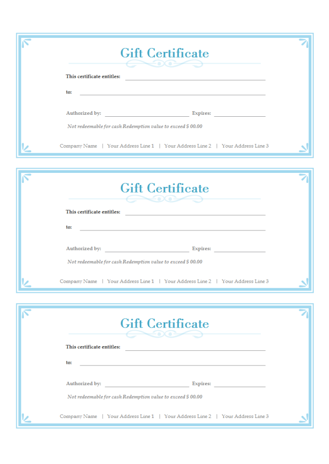 The gallery for free gift certificate template for Gift certificate example templates