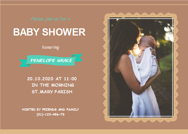 Single Photo Baby Shower Invitation