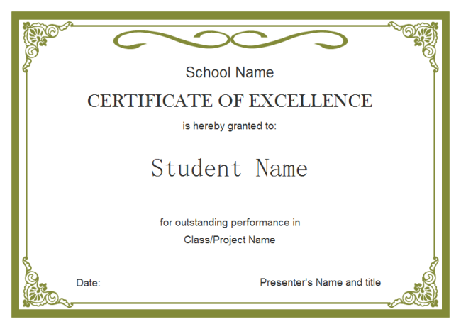Student Certificate  Certificates Of Excellence Templates