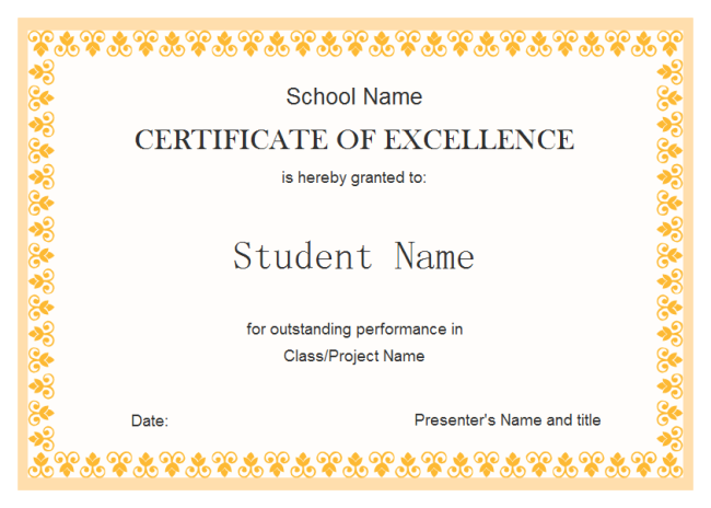 Student Excellence Award  Certificates Of Excellence Templates