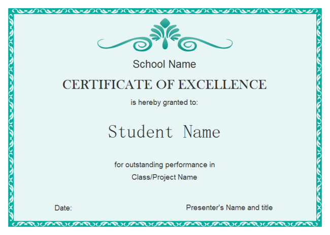 Student excellence certificate free student excellence for Student of the year award certificate templates