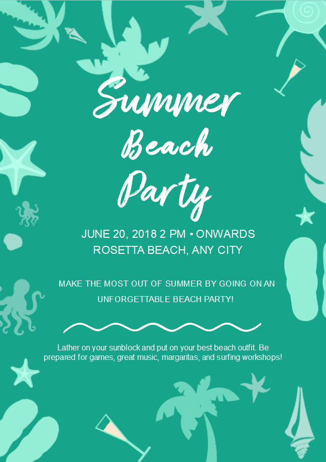 Beach Party Flyer Template | Free Summer Beach Party Flyer Templates