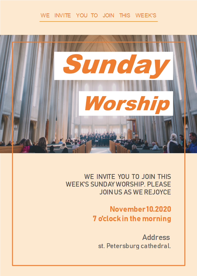 Sunday Church Worship Invitation