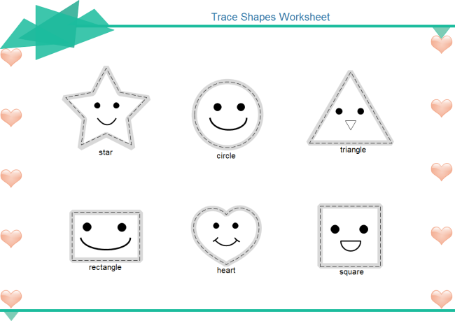 Number names worksheets tracing shapes worksheets for for Shape tracing templates