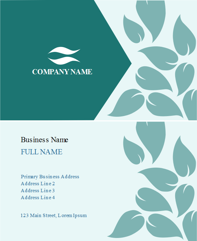Turquoise Leaves Business Card