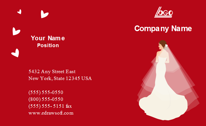 Wedding Company Business Card Front